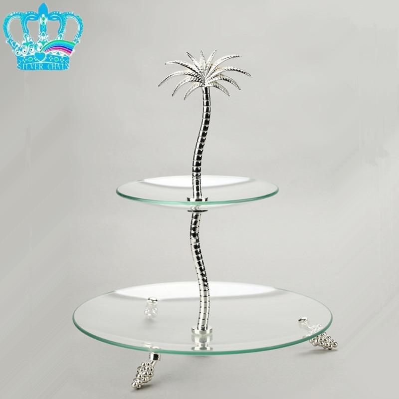 Quality luxury fashion double layer glass fruit plate ktv decoration big fruit plate