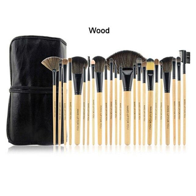 2 conjuntos ferramentas de maquiagem cor de madeira escova sobrancelha Make Up Brushes Set delineador profissional chanfrado Lip Blush escovas 24 pcs