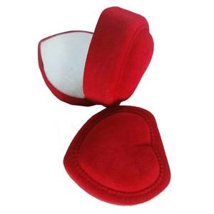 Image 5 - Wholesale 24Pcs Romantic Velvet Birthday engagement Ring Box Red Heart Shaped Valentines Day Ring Gift Box Velvet Ring Box