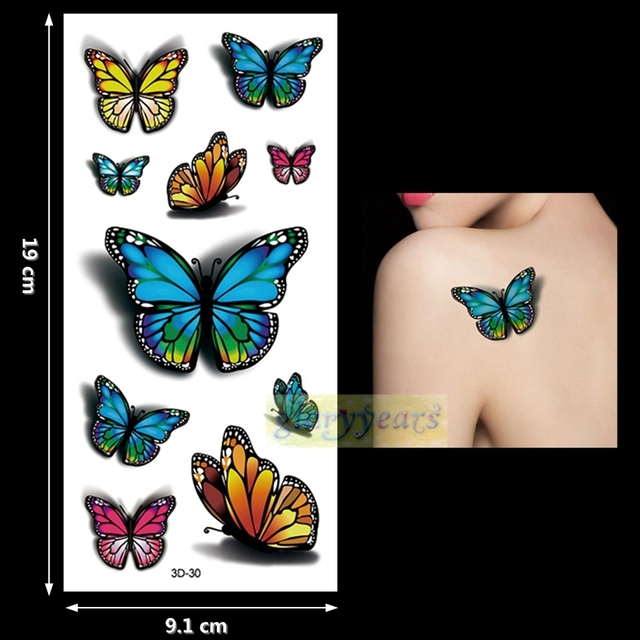 1PC Fashion Women Men Waterproof Temporary Tattoo Removable Simulation Vivid Body Art 3D-30 Fluorescent Blue Red Butterfly