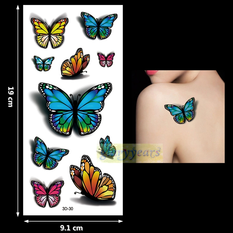 new 1pc fashion women men waterproof temporary tattoo removable simulation vivid body art 3d 30. Black Bedroom Furniture Sets. Home Design Ideas