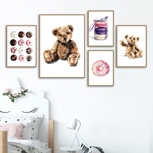 Bear Macarons Chocolate Circle Wall Art Canvas Painting Cartoon Nordic Posters And Prints Pictures For Baby Kids Room Decor