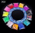 JINSE 200 pcs banda + 12-S clipe + 1 Gancho/Pack DIY Doces Sólidos bandas Cor Tear qualidade Tear Bandas Refill Pulseira DIY Caçoa o Presente LBD016