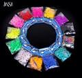JINSE 200 unids banda + 12 s-clips + 1 Gancho/Pack DIY bandas Telar de Color Caramelo Sólido calidad LBD016 Telar Bandas Refill DIY Pulsera Regalo de Los Cabritos
