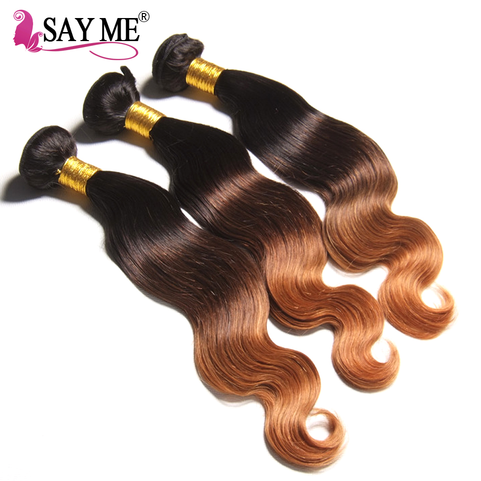 Ombre Body Wave Human Hair Bundle Med Lace Closure Blonde Brazilian - Menneskehår (sort) - Foto 3