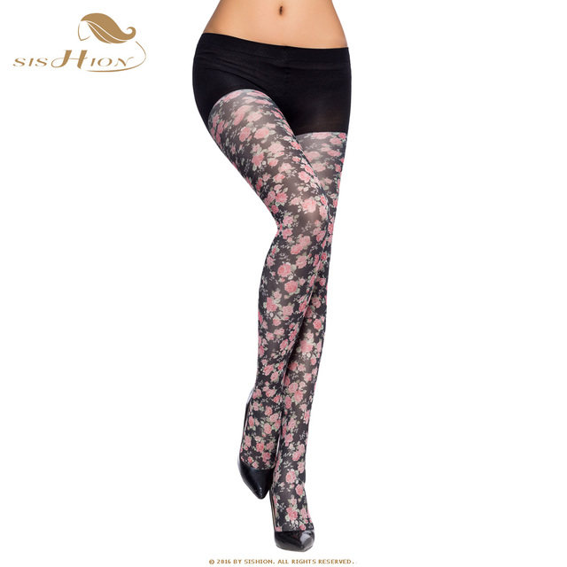 88376962aebab Women Tights 2018 Pretty Spring Autumn collant opaque High Quality Floral  Print Pantyhose Flower Pattern Black Navy Blue VH0001
