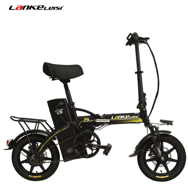 48 v 23.4Ah Leistungsstarke Elektrische Fahrrad, 5 Grade Unterstützen, 14 zoll Klapp EBike, Integrierte Rad, sowohl Disc Bremse, Suspension Gabel