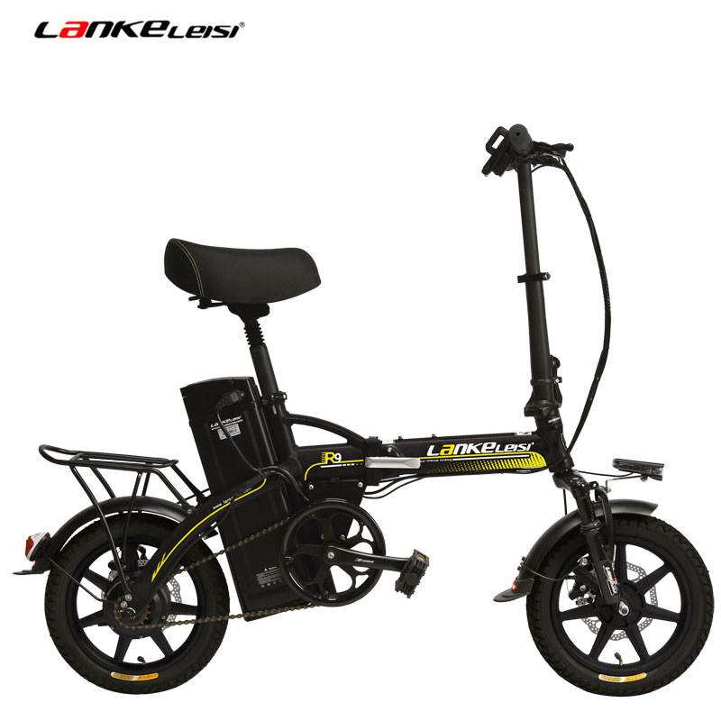 48V 23 4Ah Powerful Electric Bike 5 Grade Assist 14 Inches Folding EBike Integrated Wheel Both