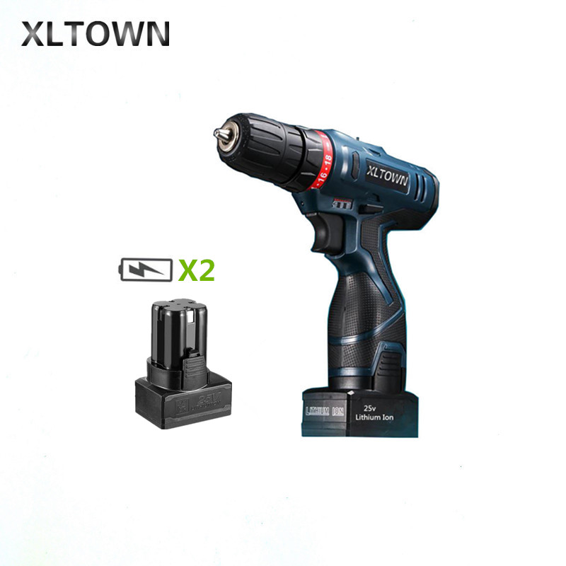цена на Xltown 25v two-speed 2*battery rechargeable lithium battery electric screwdriver Durable electric screwdriver electric drill