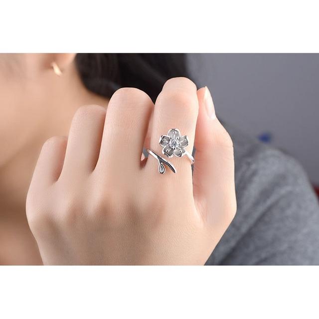 JEMMIN Beautiful Flowers Design 925 Sterling Silver Hard Cubic Zircon Opening Finger Rings For Women Girlfriend Crystal Jewelry