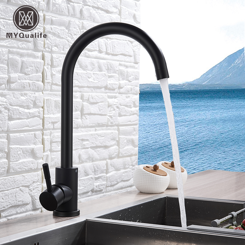 Free Shipping Stainless Steel  Matte Kitchen Faucet  Deck  Sinks Faucet High Arch 360 Degree Swivel Cold Hot Mixer Water Tap