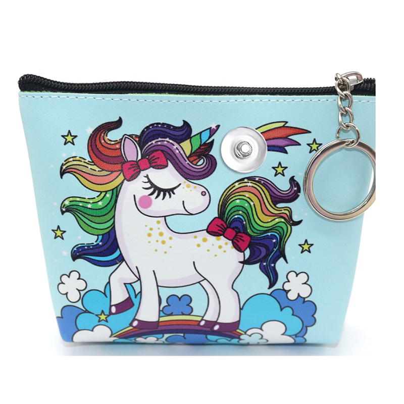 Coin Purse Black Unicorn Horse Wallet Buckle Clutch Handbag For Women Girls Gift