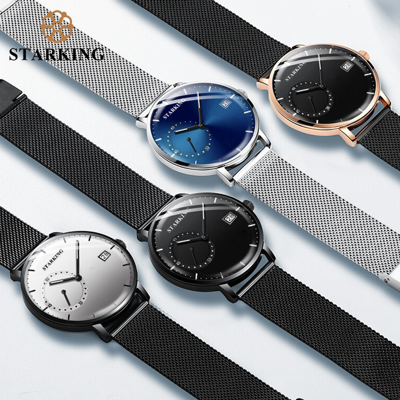 STARKING Dress Men Watch Steel Mesh Band Quartz Analog Wristwatch 3ATM Waterproof Curved Glass Blue Male Clock Relogio Masculino 4