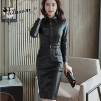 Autumn Black PU Sheath Dresses Turn down Collar Long Sleeve Bodycon Dress Women Office Sexy Party Synthetic Leather Dresses