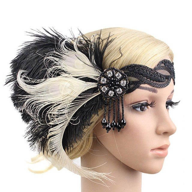 Women Feather Hairband 1920s Headband Spring Summer Ladies Wedding Bridal  Gatsby Flapper Headpiece Elastic Strap Hair Accessorie 8f17697846a