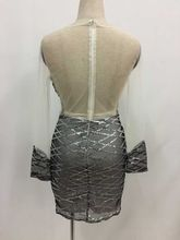 Hot fashion design 2017 Sequin mesh patchwork dress sexy party dress ladies silver bodycon dresses