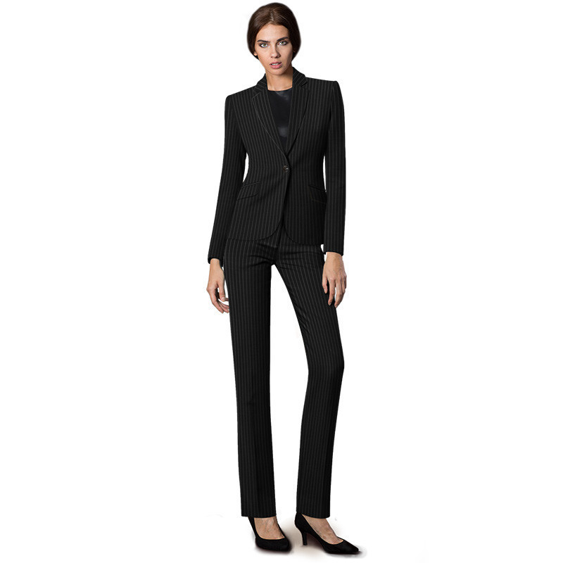 Black White Striped Pattern Uniform Pant Suits Stylish For Business Women Office Formal Autumn Winter Slim 2 Piece
