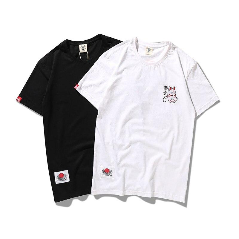Bebovizi Brand 2018 Streetwear Japan Style Ukiyo E Funny Samurai Cat TShirts Mens Short Sleeve T-shirts Hip Hop Embroidery Tees 1