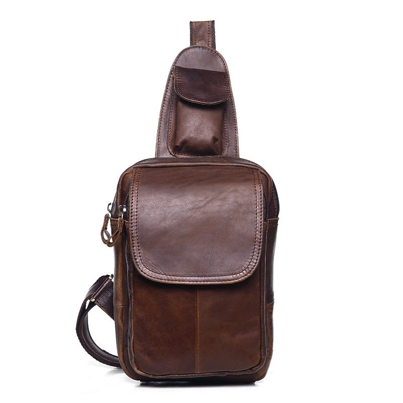 Men Oil Wax Genuine Leather Vintage Messenger Shoulder Crossbody Cover Bag Travel Male Sling Chest Back Bag Pack Casual Hand Bag miwind men chest pack leather genuine cowhide back bag crossbody bags women sling shoulder bag back pack travel bag tbp1148