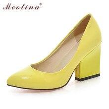 Meotina Haute Talons Chaussures Femmes Chaussures De Mariage Blanc Épais Haute Talons mode Partie Pompes Chaussures Jaune Rouge Grande Taille 9 10 41 43