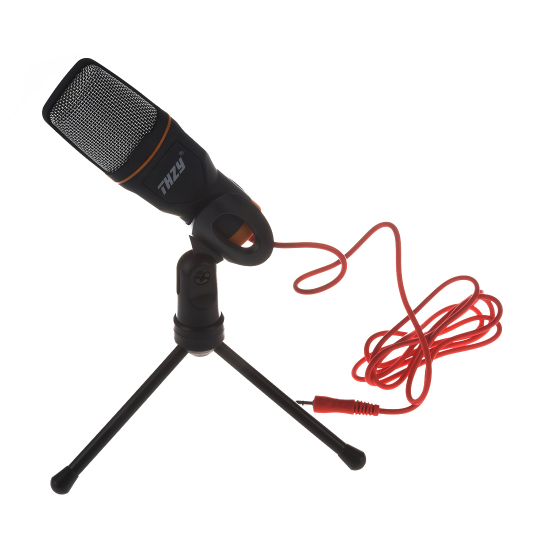 Microphone Thzy 35mm Audio Jack Connection Condenser Sound Wiring With Tripod For Computer Laptop Black