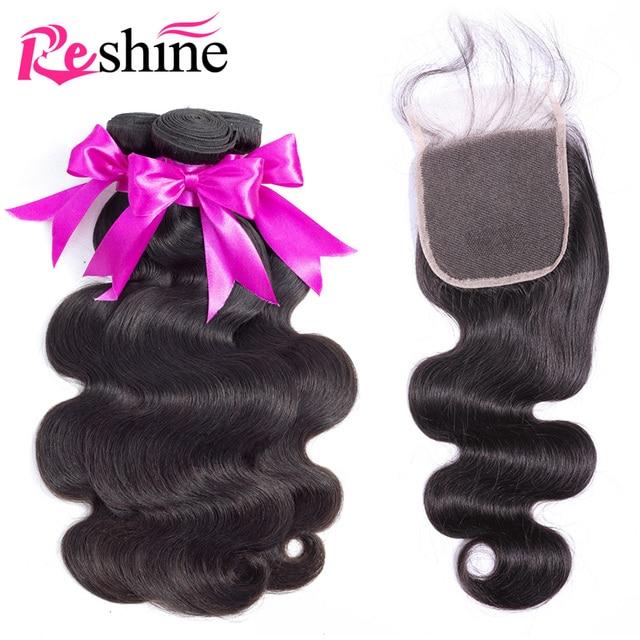 Paquetes de pelo de onda del cuerpo brasileño de rebrillo con cierre 100% cabello humano tejido 3 paquetes con cierre de cabello Remy con cierre