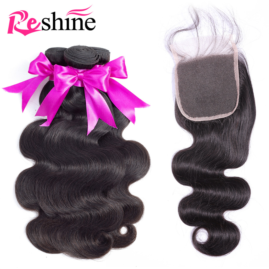 Reshine Brazilian Body Wave Hair Bundles With Closure 100% Human Hair Weave 3 Bundles With Closure Remy Hair With Closure