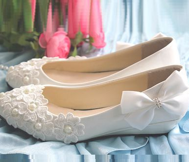 Wedges heel wedding shoes for woman fashion brand new design lace flower white ivory bridal wedding