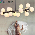 modern chandelier lighting for room plated iron gold/black color glass lampshade lamparas de techo 100-240V lustres para quarto