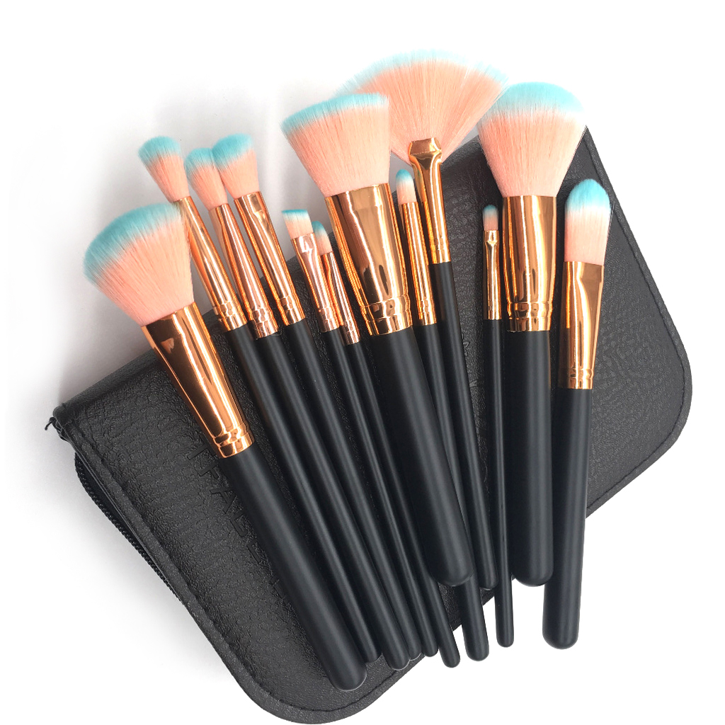 FOEONCO Make up Brushes 12pcs Pro Makeup Brushes Set Blending Powder Eyeshadow Contour Concealer Blush Brush Kit With Case тушь make up factory make up factory ma120lwhdr04