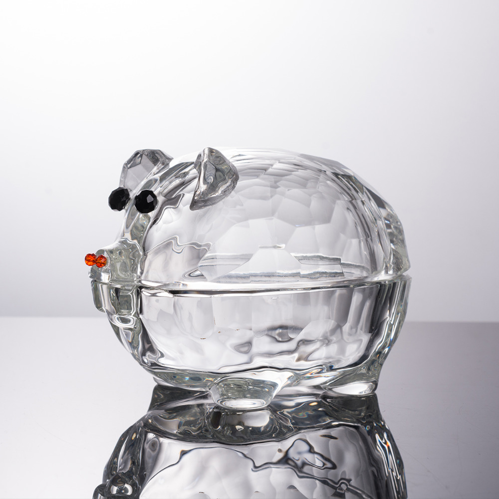 Pig Crystal Jewelry Box Statuette Home Decor Glass Art Ornament Sculpture Gift Animal Craft For Office Girl Friend