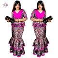 2017 Primavera Dashiki Africano para Mujer Superior de La Colmena y sirena sistema de la falda Bazin Riche Femme robe Más Tamaño Vestido de noche WY1086
