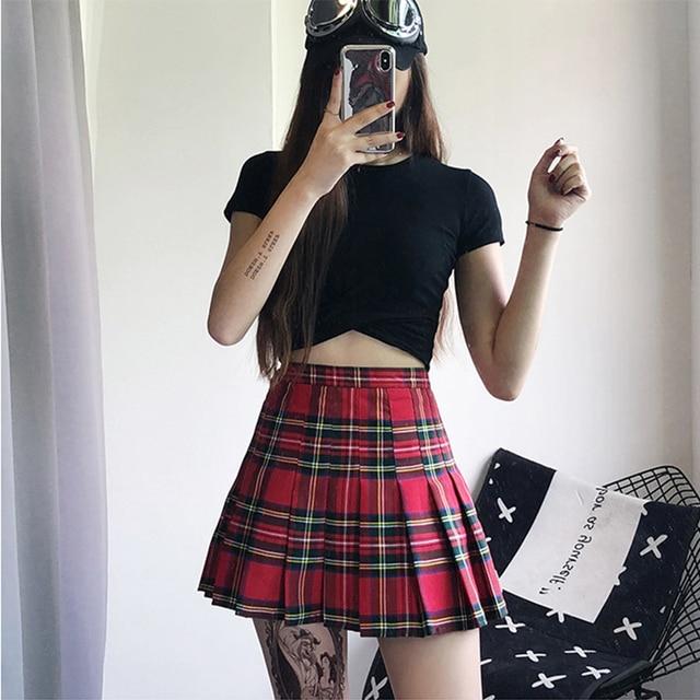 51f23cce12a Harajuku Grid Pleated Skirt High Waist Retro Women S Skirts Female Summer  Fashion