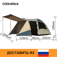Ship From RU 3 4 Person Camping Tent Double Layer Beach Tent Waterproof Anti Mosquito Spacious Family Tents Outdoor Travel Tent