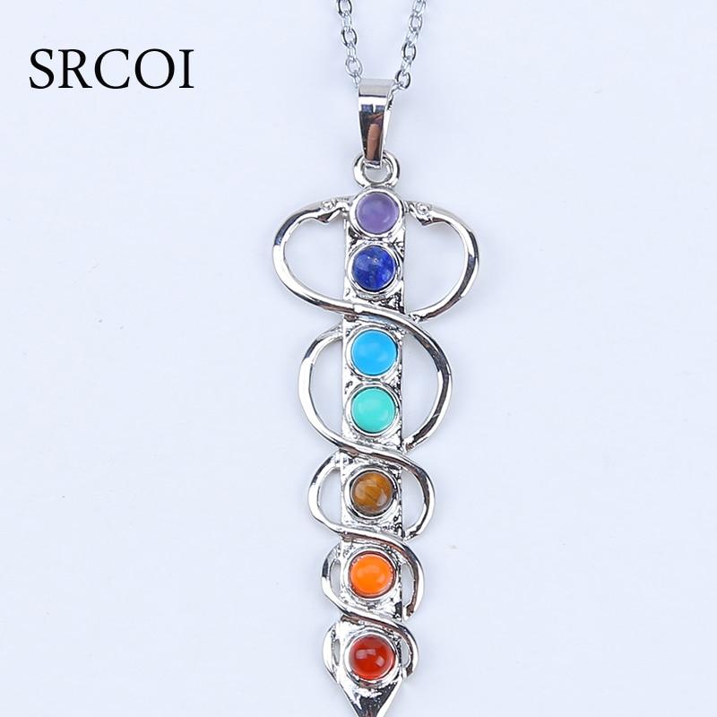 7 Chakra Stones Healing Crystals Chakra Pendant Natural Reiki Symbols Crystal Stone Jewelry Yogo Energy Pendant Necklace Amulet