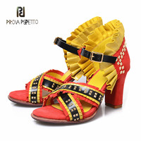 Prova Perfetto Summer New Designer Euramerican Style Flowers Women Sandals High end with Rivet Mixed Colors Sexy Sandals