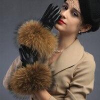 وصل 2016 المرأة الجديدة عالية أزياء الخريف الشتاء الدافئة منقوشة خياطة سميكة الراكون الفراء القوس عقدة قفازات قفازات لمس الشاشة