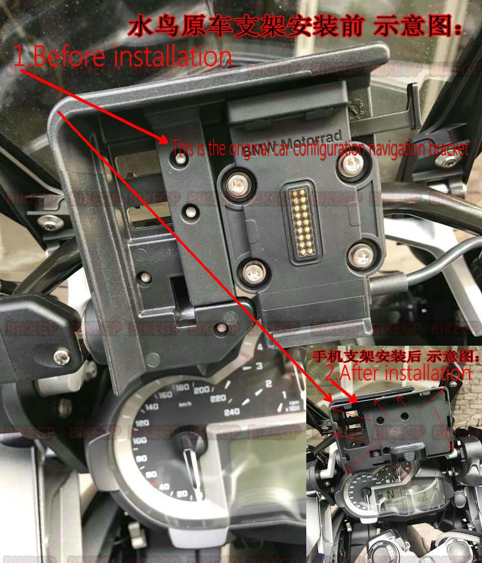 mobile phone Navigation bracket USB phone charging for BMW R1200GS LC adventure 13-17