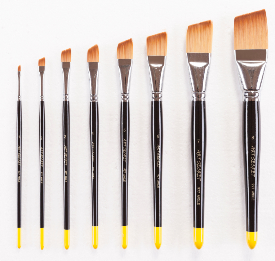 977ANGLE Synthetic Hair Wooden Handle Acrylic And Oil Brush