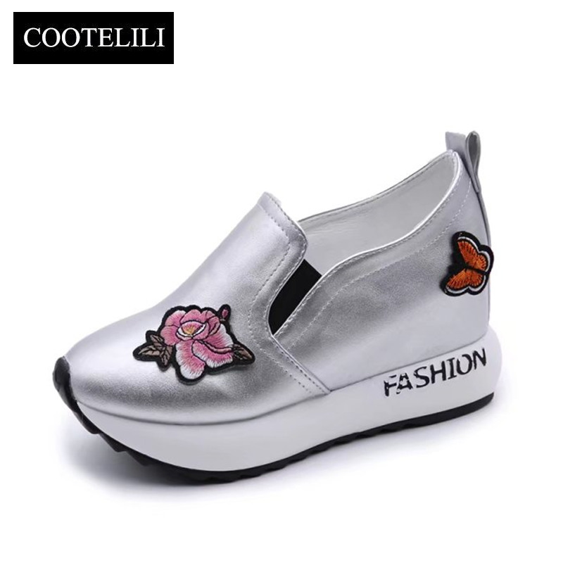 COOTELILI Autumn Women Sneakers Platform Inside Increased Casual Shoes Woman Slip on with Flowers Black White Silver 35-39 glowing sneakers usb charging shoes lights up colorful led kids luminous sneakers glowing sneakers black led shoes for boys