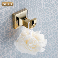 XOXONEWluxury Solid Brass Traditional Clothes Hanger Carving Golden Bathroom Hat Towel Hooks Hangers Wall Mount 17082G