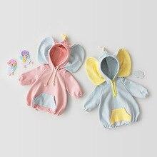 Милый детский комбинезон с капюшоном и Рисунком Слона для маленьких мальчиков и девочек, большая толстовка с ушками, Ropa, комбинезон, одежда Bebes