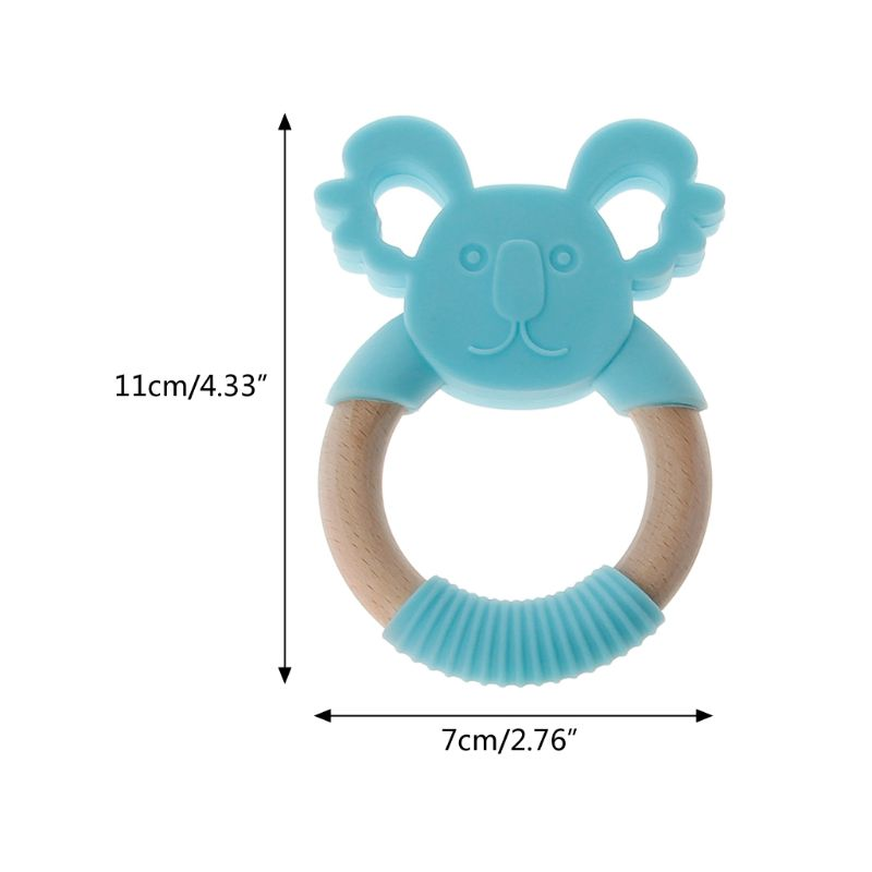Купить с кэшбэком Baby Silicone Teething Toys Soft Sensory BPA Free Natural Wooden Ring Molar Teeth Soother Safe Teether for Baby Infant Toddlers