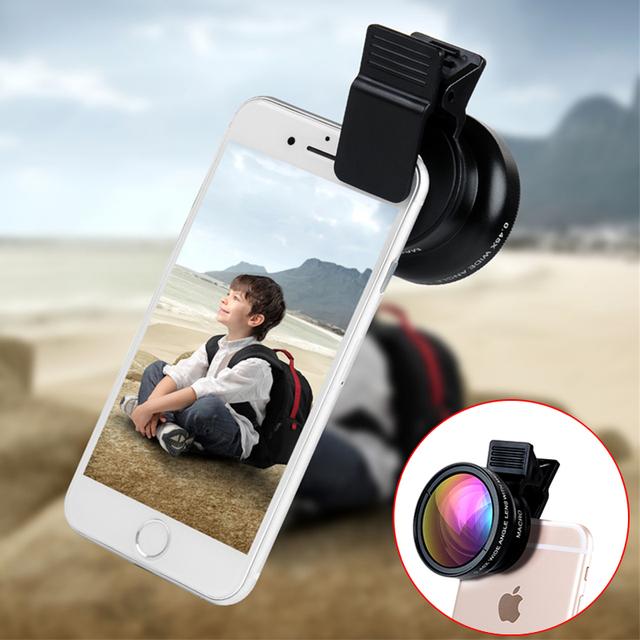 Profissional 2em1 Kit Grande Angular Lentes Macro 12.5X Com Clips hd lentes da câmera do telefone para samsung galaxy s3 s5 s6 s7 edg