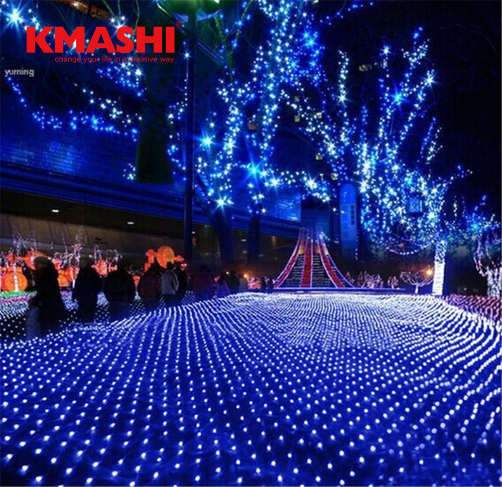 Kmashi 6Mx4M 672 Led Fairy Net Lights Festival Net Mesh String Xmas Party Wedding Christmas Lights Outdoor Decoration Lighting