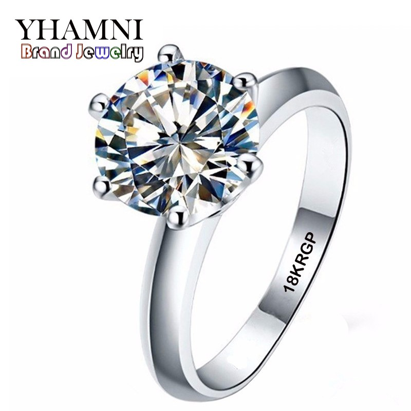 YHAMNI Real Pure Gold Color Ring with 18KRGP Stamp Set 3 Carat CZ Diamant Wedding Rings  ...