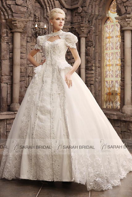 Vintage Ball Gown Hall Wedding Dresses With Long Train High Neck ...