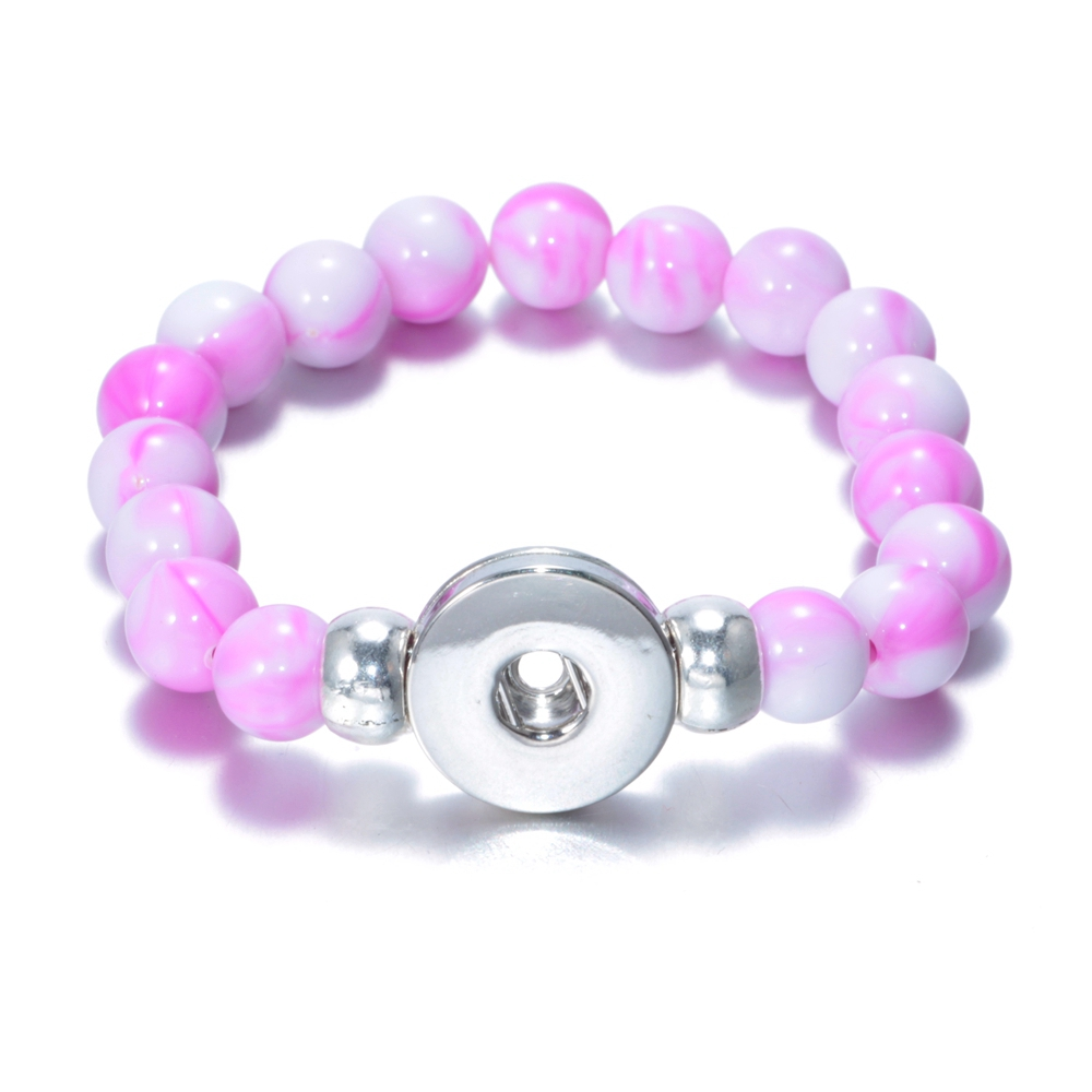 1pc/lot 10 Color Charms Beaded Snap bracelet & bangle Acrylic Stone 18mm Snap Button Jewelry For Snap Jewelry SZ0177a