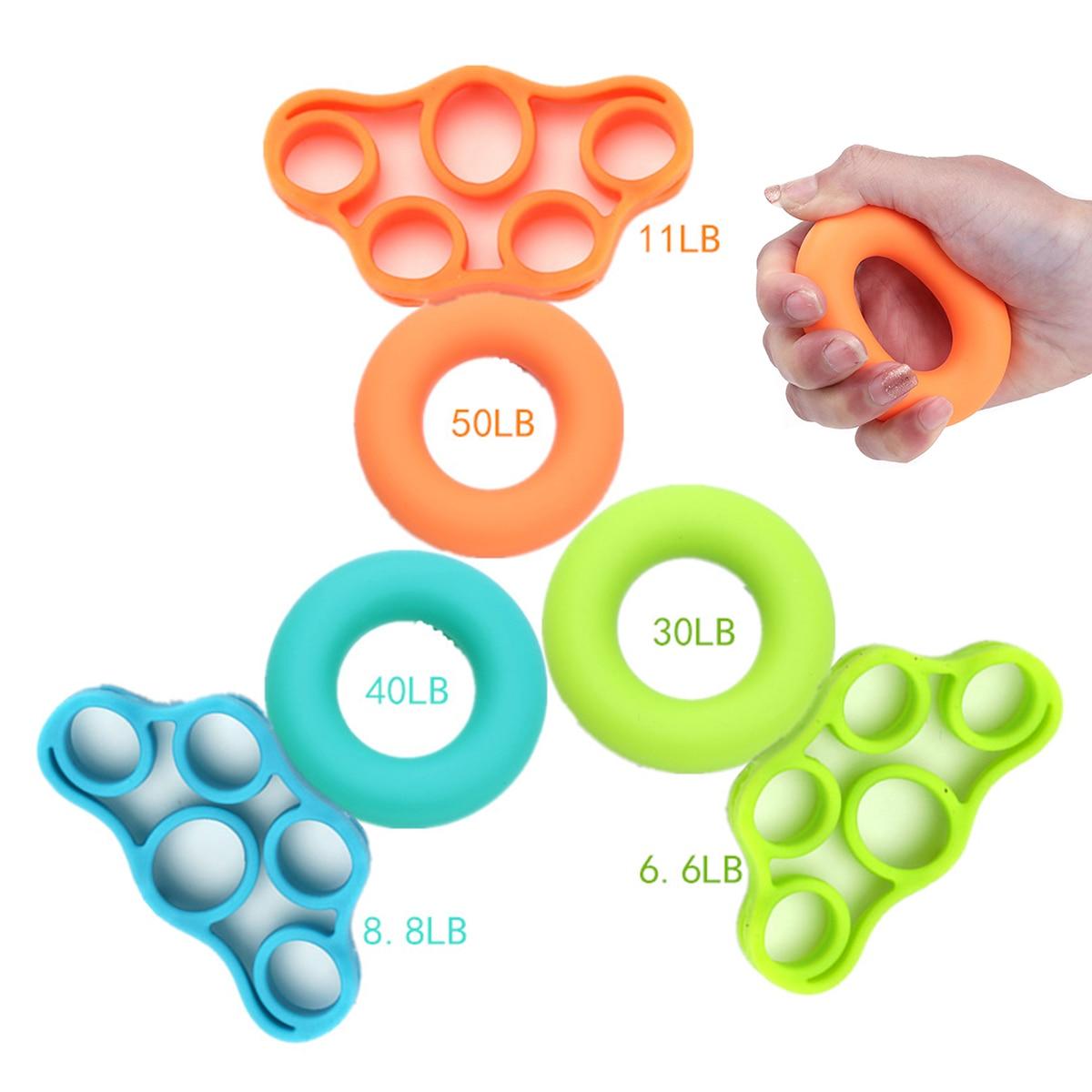 Mayitr 2Pcs/set Silicone Hand Grip Strengthener Finger Stretcher Hand Exercise Gym Fitness Grip Finger Trainer Ring