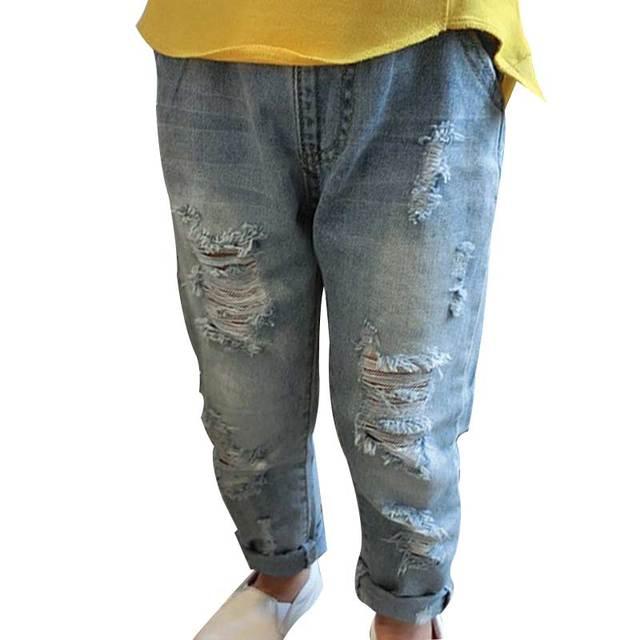 2016 Verano Nuevas Muchachas de La Manera Pantalones Vaqueros Rasgados Agujero Flaco Ripped Jeans Para Niños Ropa de Los Niños Niñas Pantalones Vaqueros Pantalones Casuales